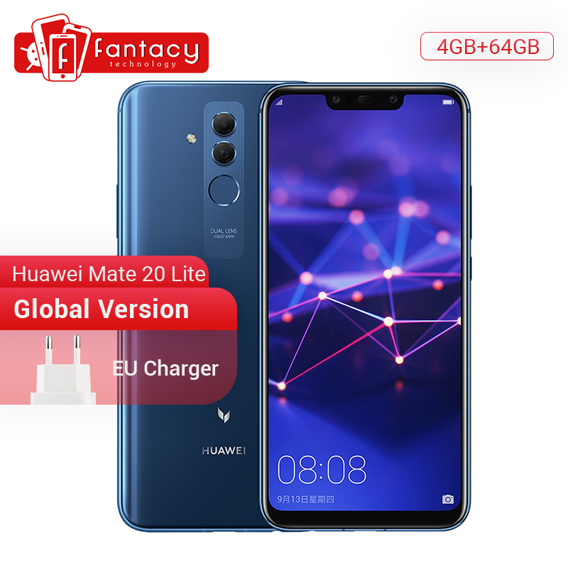 Global Version Huawei Mate 20 Lite 4GB 64GB 6.3 inch Mobile Phone EU Charger NFC 24MP Front Camera F/2.0 Aperture Kirin 710