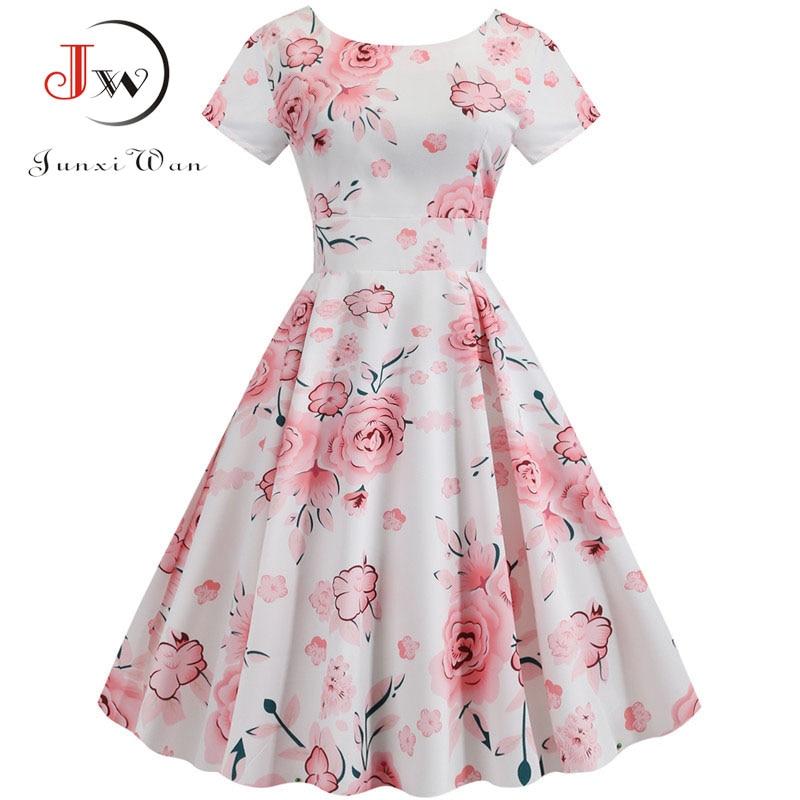 Summer Floral Print Elegant A-line Party Dress Women Slim White Short Sleeve Swing Pin up Vintage Dresses Plus Size Robe Femme 8
