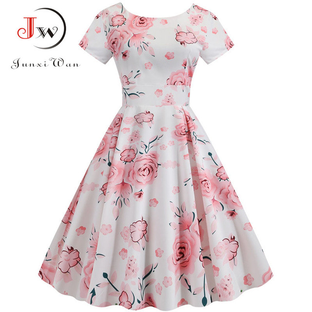 Summer Floral Print Elegant A-line Party Dress Women Slim White Short Sleeve Swing Pin up Vintage Dresses Plus Size Robe Femme 185