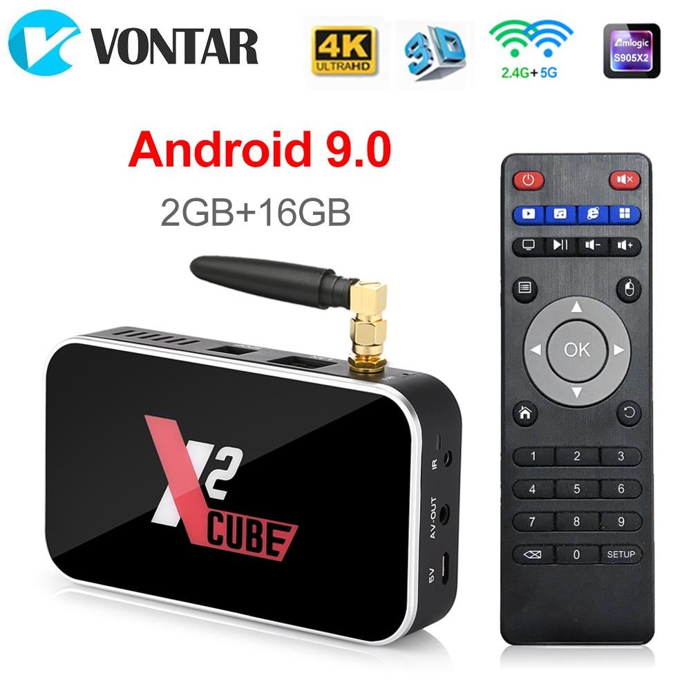 X2 CUBO 2GB DDR4 S905X2 16GB Inteligente Android 9.0 Caixa De TV Amlogic 2.4G/5GHz Wi-fi Bluetooth 1000M K HD X2 Pro 4GB 32 4GB Set Top Box