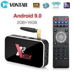 X2 CUBE 2GB DDR4 16GB الذكية أندرويد 9.0 صندوق التلفزيون Amlogic S905X2 2.4G/5GHz واي فاي 1000M بلوتوث 4K HD X2 برو 4GB 32GB مجموعة صندوق
