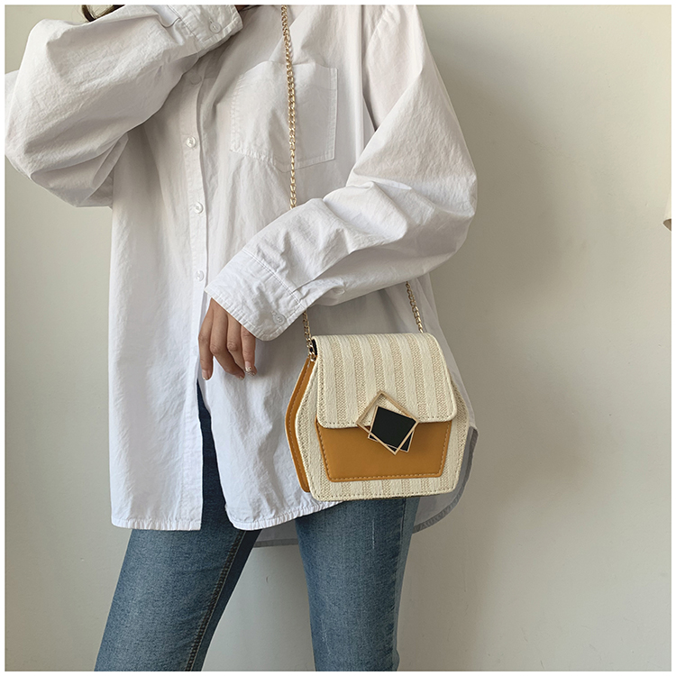 Mini Bag Girl 2019 New Korean Edition Fresh and Popular Fashion Chain PU Slant Bag Personal Bag Mobile Geometric Bag Clothes 99