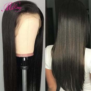 Ms Love 360 koronkowa peruka z przodu proste włosy ludzkie peruki dla kobiet 10 #8222 -26 #8221 Cal brazylijska peruka tanie i dobre opinie Remy włosy Brazylijski włosy Średnia wielkość Średni brąz Ciemniejszy kolor tylko Swiss koronki