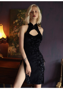 Image 2 - Robe de nuit en velours Sexy pour femmes, en dentelle en V profonde, ouverture latérale, fendue sur le côté, vêtements de nuit, vêtements pour la maison