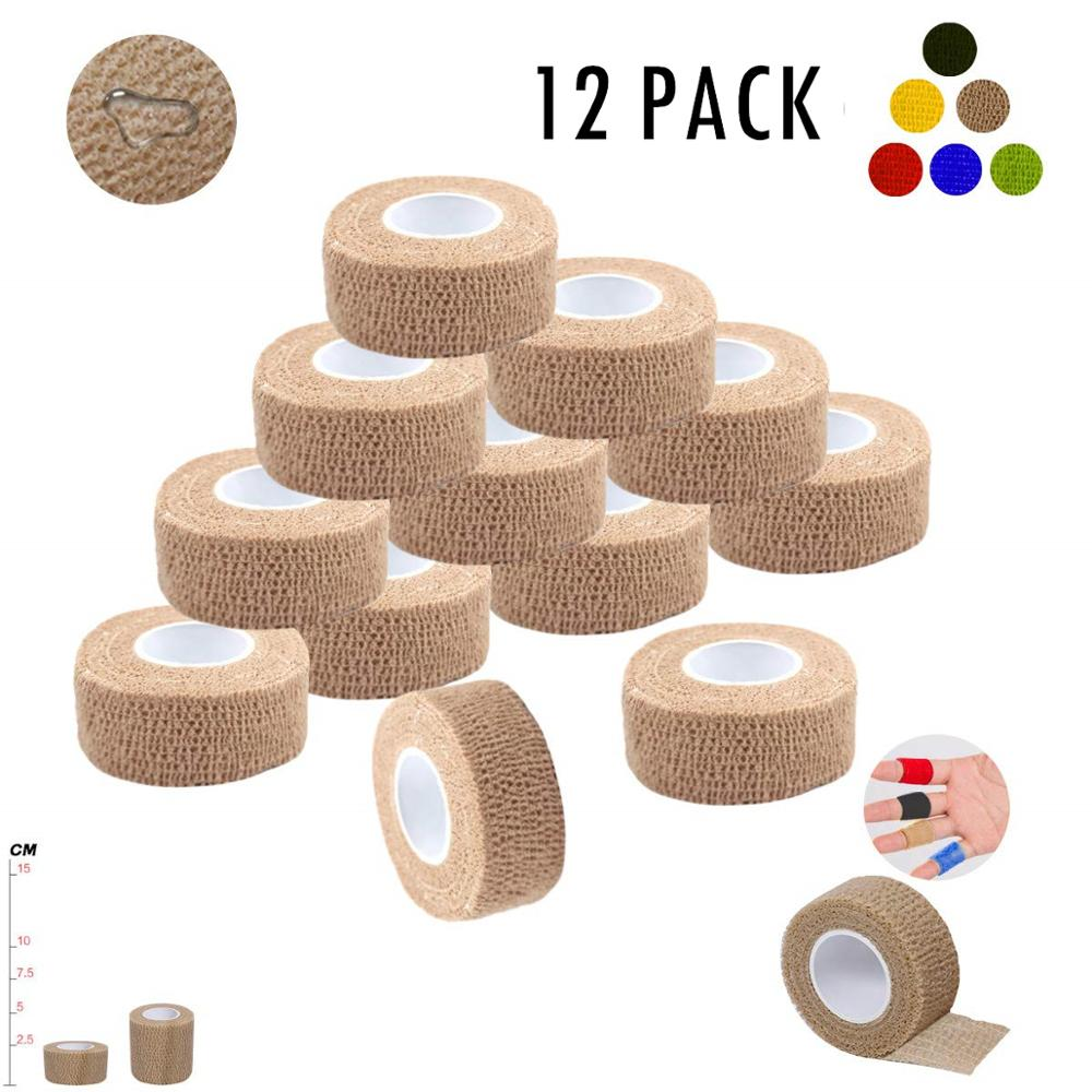 12 PACK Self Adherent Wrap Tape Medical Cohesive Bandages Flexible Stretch Athletic Strong Elastic First Aid Tape For Ankle Knee