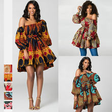 Африканские Дашики модные летние сексуальные платья с открытыми