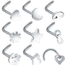 1PC Steel Nariz Piercings Nose Screw Ring Nez Studs Heart Bone L Shape Nostril Earring Body Jewelry 20G