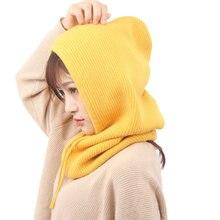 Зимняя новая кашемировая шапка вязаная капюшон двойного назначения