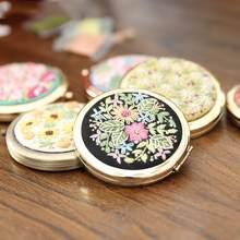 Diy bordado espelho artesanato needlework ponto cruz kit mini espelho de maquiagem redonda dupla face espelho material pacote