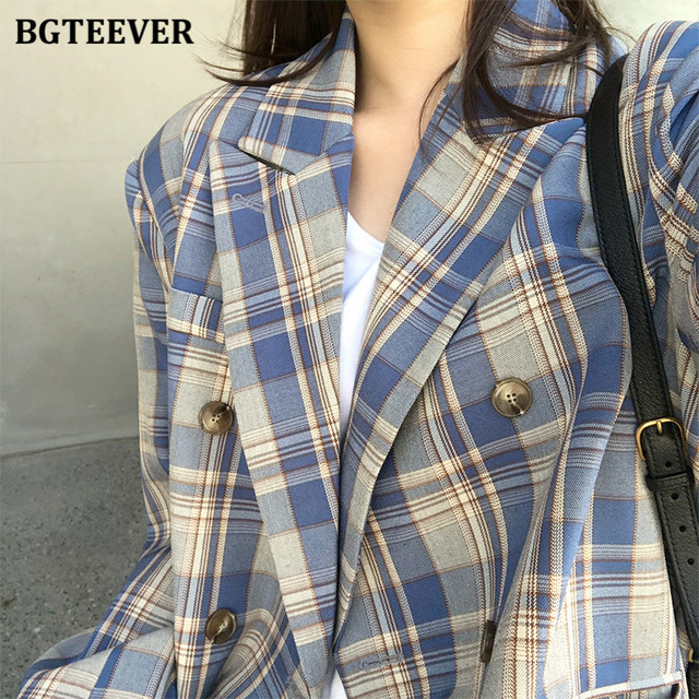 BGTEEVER-veste Vintage à carreaux pour femme, manches longues, veste Chic et élégante, croisé, automne 2020 6