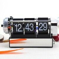 Table Alarm Flip Clock Antique Retro Style Digital Dynamic with Alarm Clock Gift Desk Table Gear Operated Auto Flip Clock