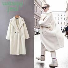 Womens winter long Woolen Jacket female full-sleeve turn-down collar thick Warm Korean version plus velvet 2019 jacket Women