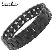 Escalus heren Zware Rvs Magnetische Mat Zwart Armband met 44 Krachtige 3000 + Gauss Neodymium Magneten voor Pijn relief