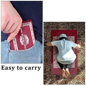 Image 2 - Muzułmański dywanik do modlitwy poliestrowe przenośne plecione maty po prostu drukuj z kompasem w etui podróż dom nowy styl mata koc 100*60cm