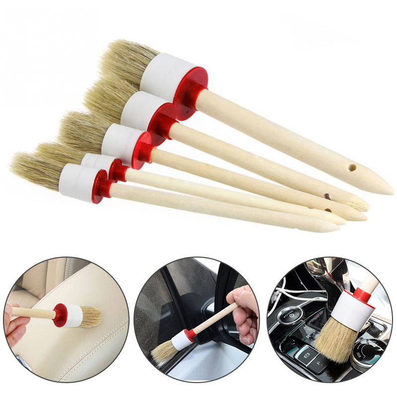 1Pcs Soft Car Detailing Wheel Wood Handle Brushes For Cleaning Dash Trim Seats Handy Washable Car Cleaning Tool