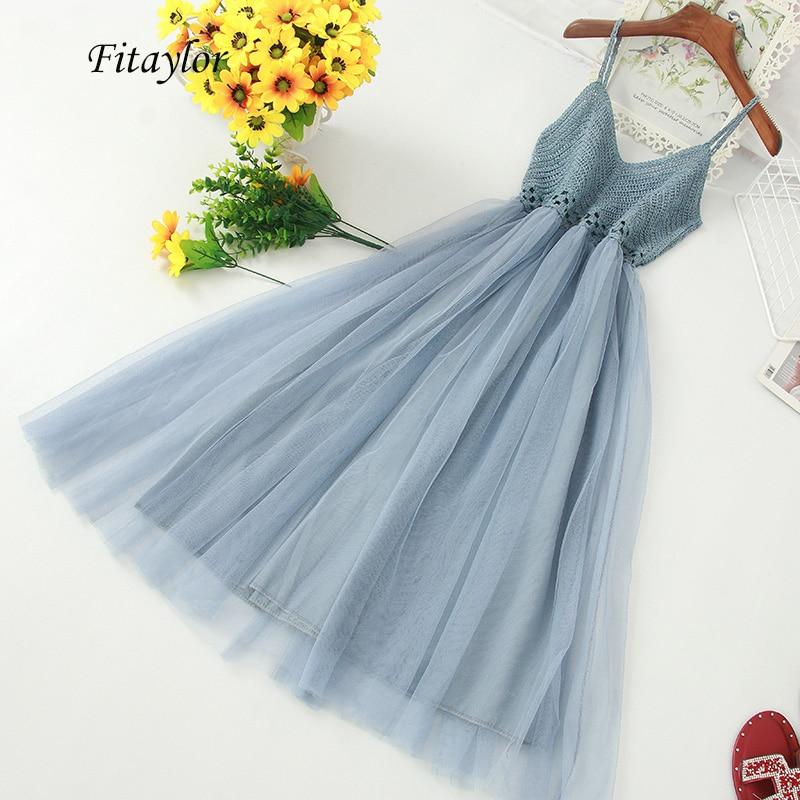Fitaylor V Neck Spaghetti Strap Long Tulle Dress Women High Waist Knitting Hollow Out Slim Dress Female Sweet Fairy Vestidos