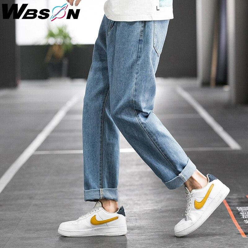 Wbson Men's Casual Classic Retro Jeans Pants Fashion Korean Blue Harem Denim Jeans Pants OverSize SYG-8334