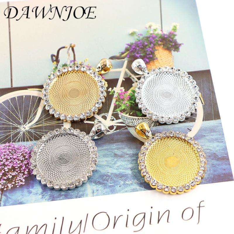 25mm Gold/Silver Round Crystal Cabochon Base Blank Setting DIY Jewelry Accessories Making Pendant Necklace Jewelry Finding