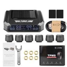 Sistema de supervisión de presión de neumáticos para coche y camión sistema de supervisión de presión de neumáticos con pantalla automática, alarma de monitoreo de carga USB, alerta de temperatura con 6 sensores