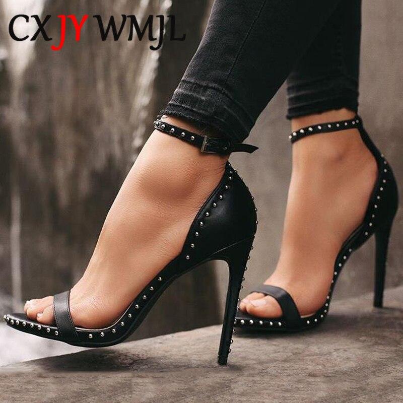Большие размеры; Дизайнерские женские босоножки на тонком каблуке с заклепками; Черные пикантные вечерние сандалии гладиаторы из искусственной кожи; Летние модельные туфли на высоком каблуке; Офисная и деловая обувь Боссоножки и сандалии      АлиЭкспресс