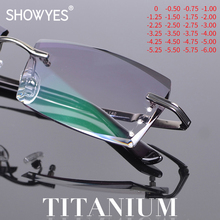 Titanium Blue Light Filter Glasses Men Rimless Frames Myopia Computer Eyeglasses Prescription Diopter Frameless Eye Eyewear