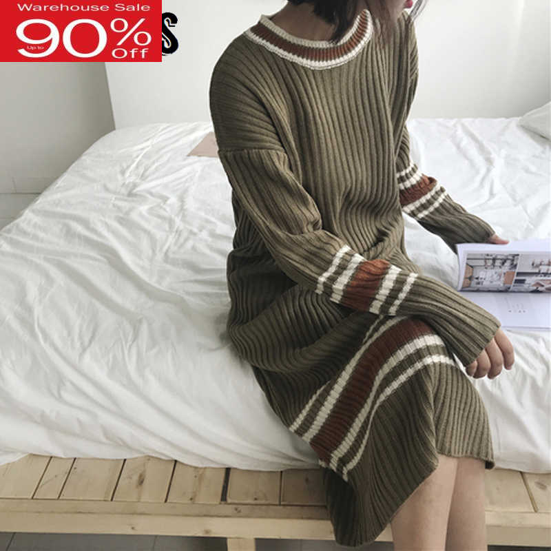 2020 Winter Striped Knitting Women Long Sleeve Jumper Dress