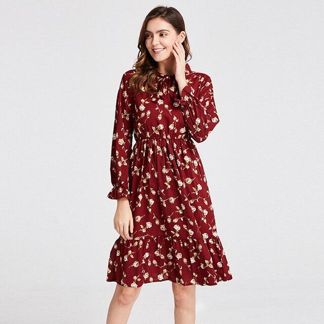 Женская одежда размера плюс, шифоновые платья-рубашки с длинным рукавом для женщин, с красным цветочным бантом, для клувечерние, Осень-зима 2020, для женщин 1