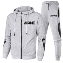 New 2 Pieces Sets Tracksuit AMG Printing Men Hooded Sweatshirt+pants Pullover Hoodie Sportwear Suit Casual Sports Men Clothes 20