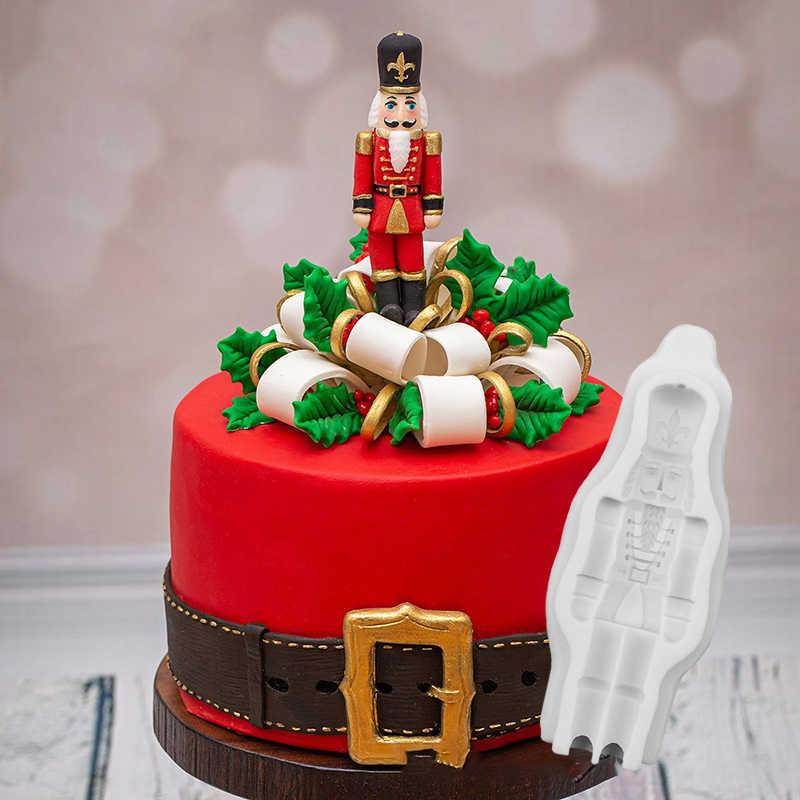 Cascanueces soldado silicona Fondant pastel molde Navidad galletas Cupcake adorno molde para golosina de chocolate herramientas de decoración