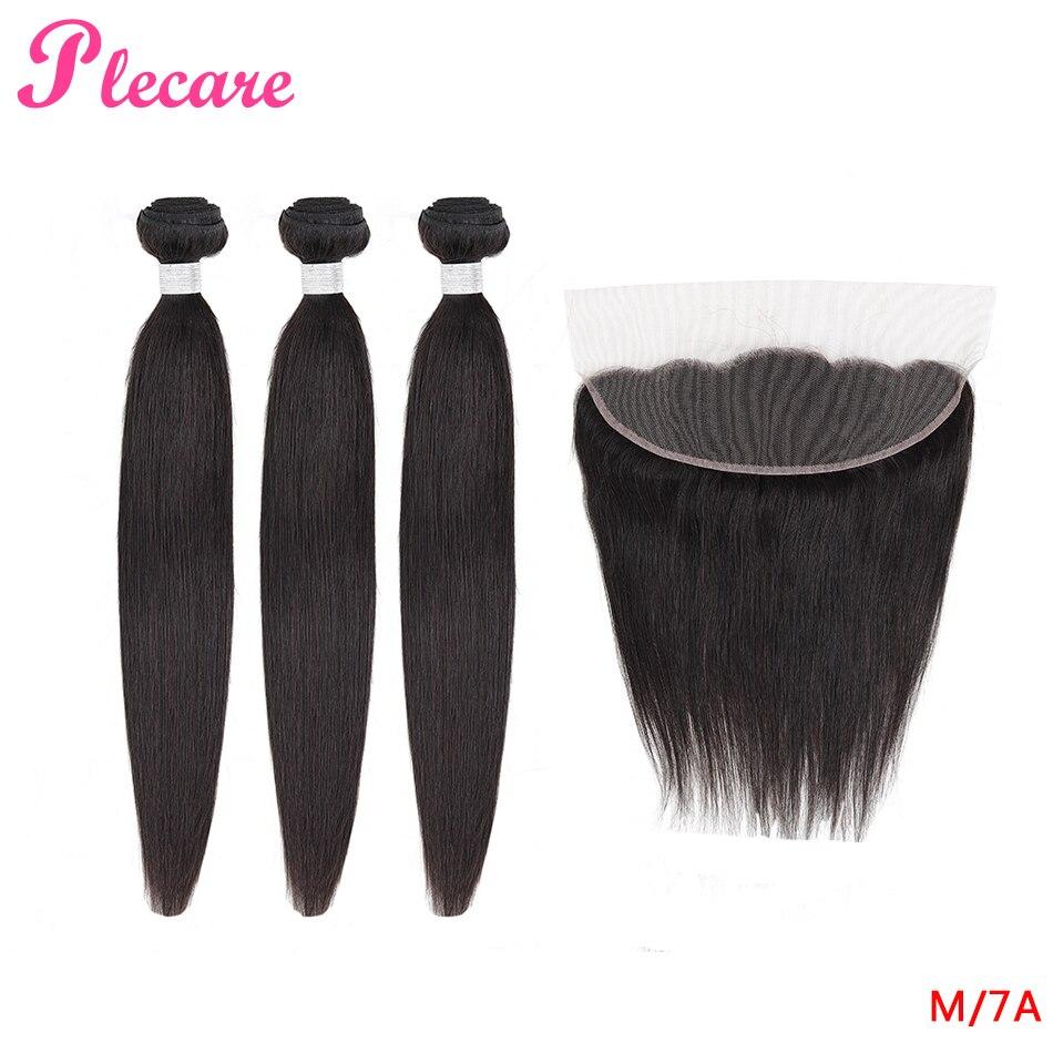 Plecare 3 pacotes com frontal peruano 100% relação média do cabelo humano pacotes retos não remy cor natural 8-30 Polegada pacotes