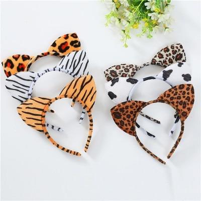 Fashion Women Cloth Short Plush Tiger Leopard Cat Ear Headband Hair Band Cosplay Party Hair Accessories HairBand