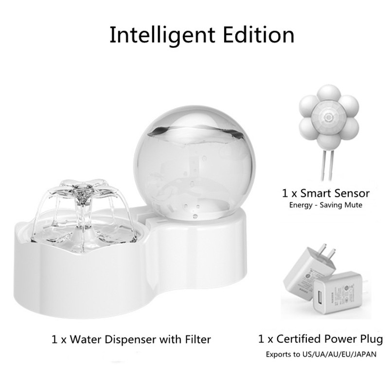 Smart Infrared Sensor Fountain Automatic Cat Water Dispenser Ultra Slient Pump Water Fountain Drinking Bowl for Cats and Dogs