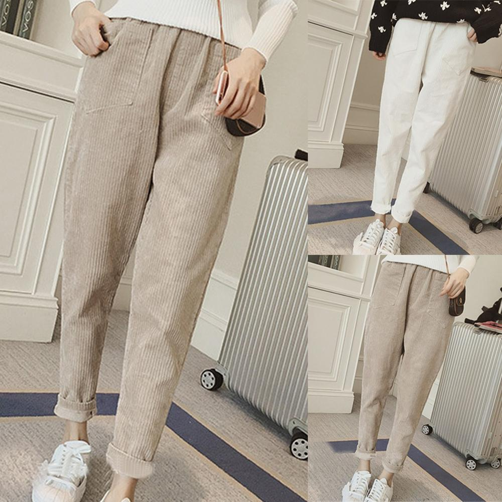 High Waist Pencil Pants 2020 Corduroy Fashion Elastic Waist Casual Loose Trousers With Pockets Girls Highstreet Clothes H1