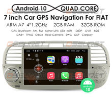 Carplay autoradio android10 quad core dvd player de mídia do carro para fiat 500 rádio multimídia buit em dps navegação gps do carro wifi 4g