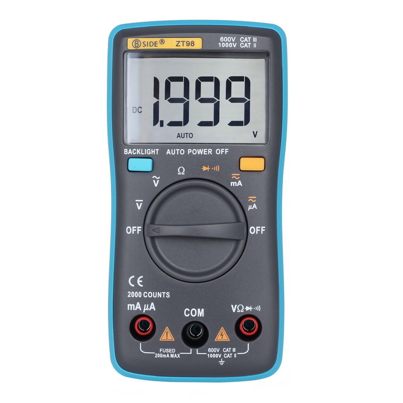 Junejour ZT98 Digital Multimeter Portable AC/DC Ammeter Voltmeter Ohm LCD Display Backlight Multimeter Diode And Continuity Test