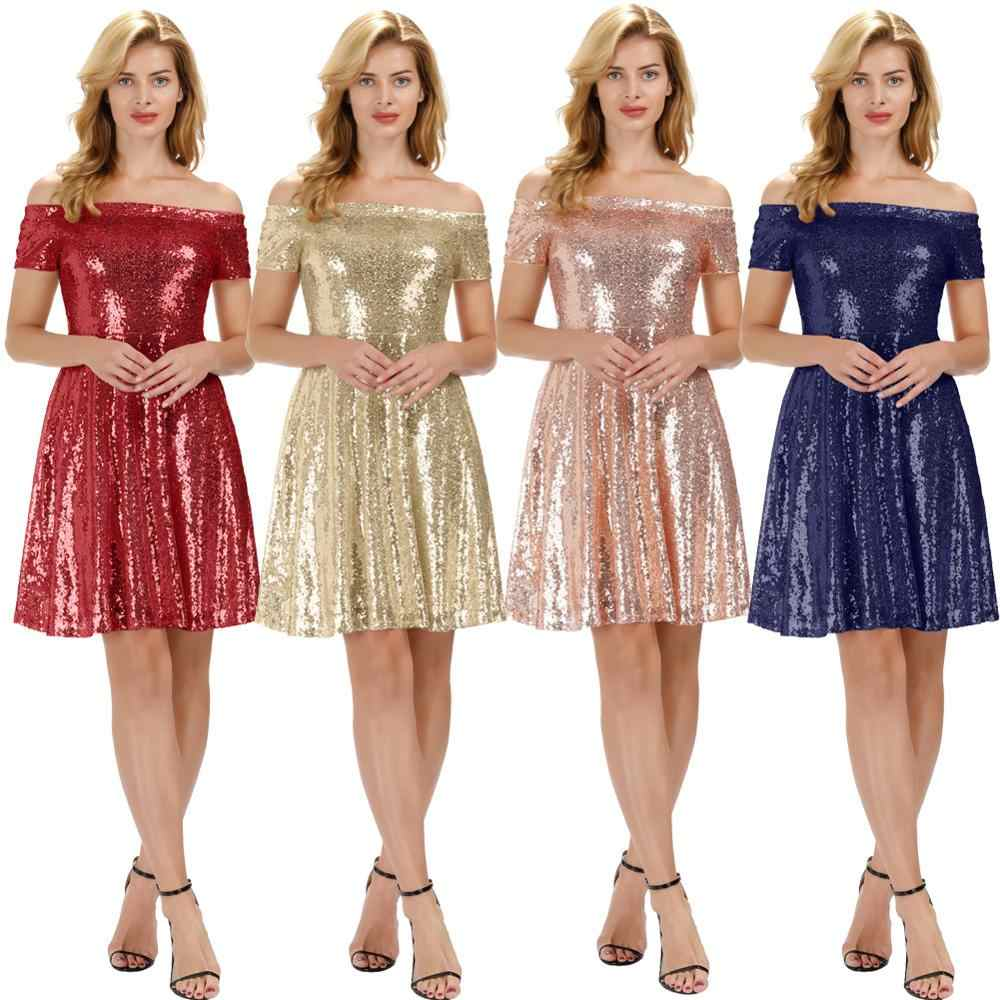 Grace Karin Vrouwen Off Shoulder Sequin Avond Party Dress Plisse Midi A-lijn Jurk Vintage Korte Uitlopende Swing Jurken
