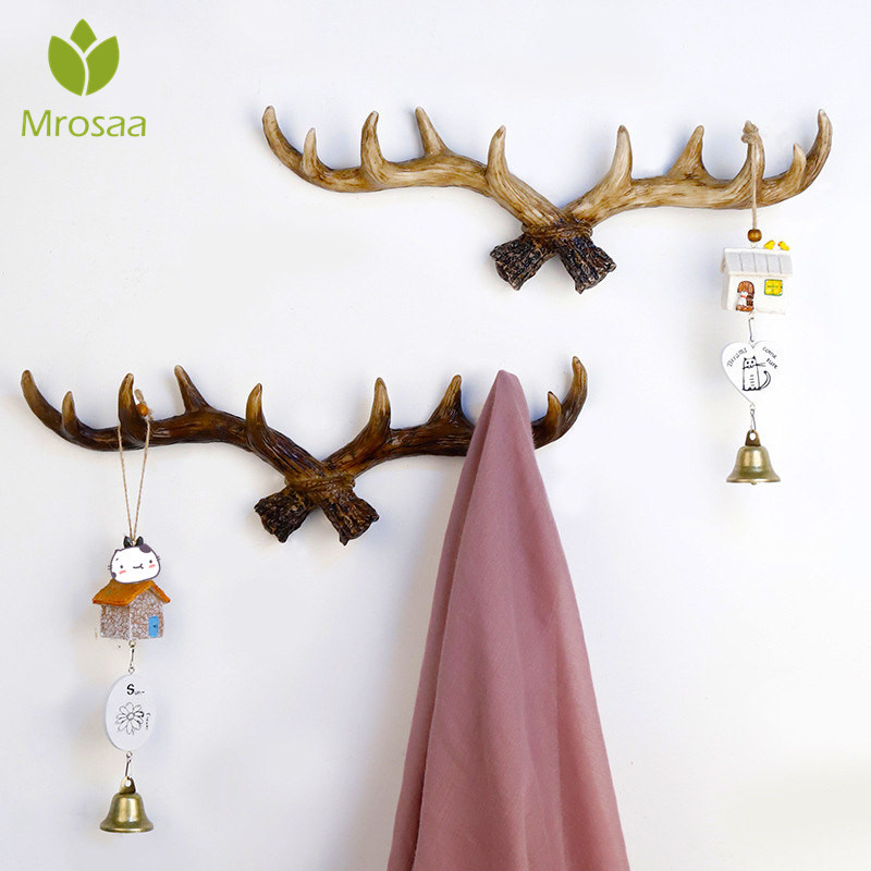 American Retro Antler Decorative Wall Hanging Coat Hat Rack Hallway Door Wall Clothes Hanger Wall Decor Resin Key Scarf Hook