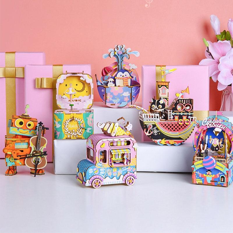 Music Box Wooden Building Blocks Kids Toy Beautiful DIY Craft Art Assembling  Set Educational Toys For Children Creative Toys