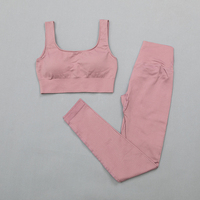 BraPantsPink - Women's sportswear Seamless Fitness Yoga Suit High Stretchy
