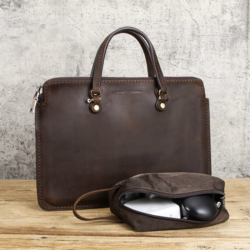 New Crazy Horse Leather Men Handbags Briefcase For 13.3 Inch Portable Laptop Bag Male Genuine Leather Notebook Computer Handbag