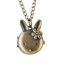Lovely Rabbit Shape Pocket Watch Female taschenuhr Bronze Alloy Case Fob Quartz Pendant Child Gift reloj de bolsillo mujer
