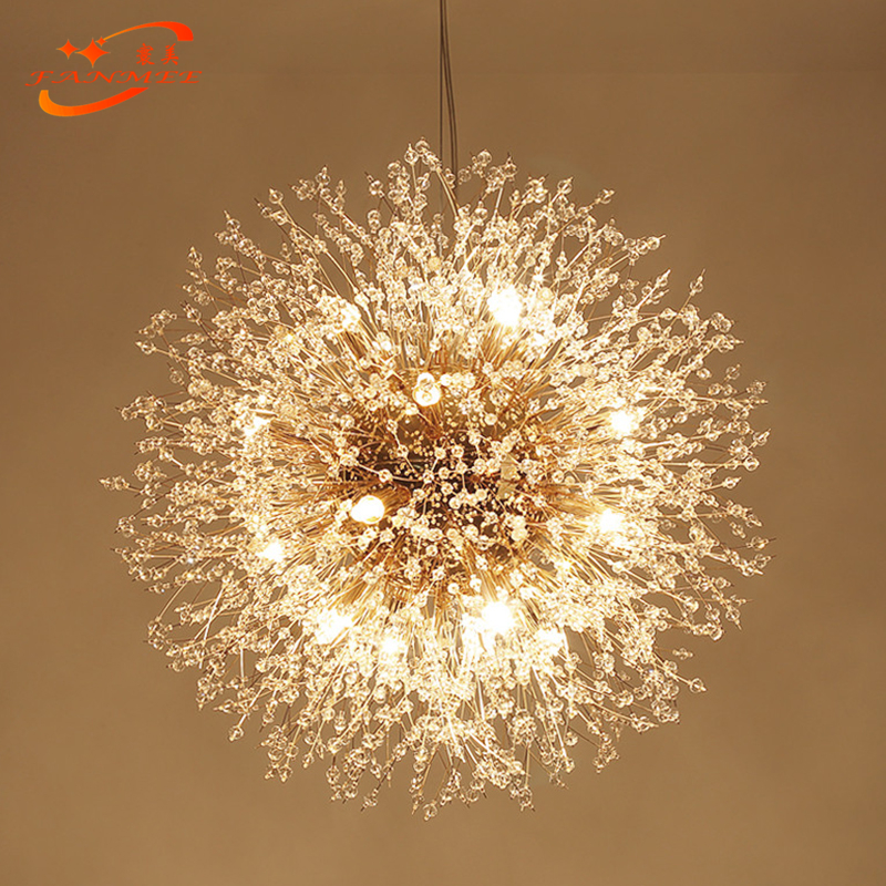 H91c2606e80474ac59f34cc93a27166b10 Modern LED Crystal Chandelier Light Pendant Hanging Lamp Dandelion Cristal Chandelier Lighting for Living Dining Room Decoration