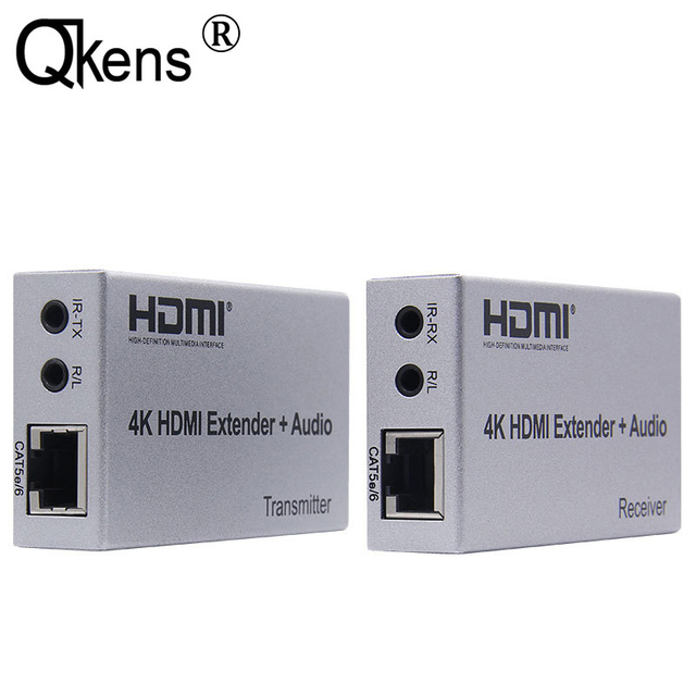 4K HDMI extensor 100M R/L de salida de Audio de la señal HDMI extensión por Cat5E CAT6 RJ45 Ethernet Cable de vídeo convertidor TX RX de la PC a TV HDTV