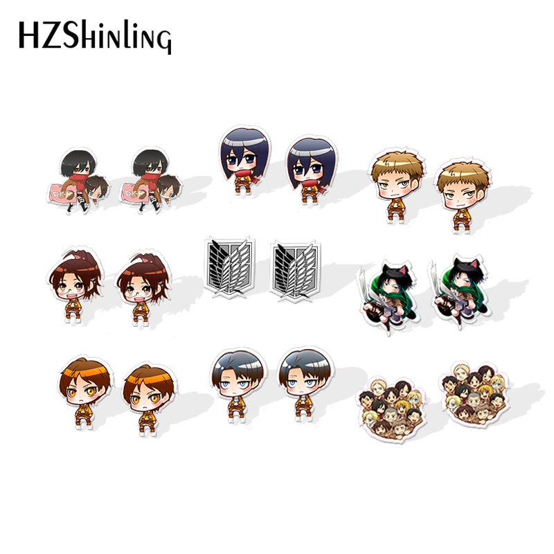 2019 New Attack On Titan Acrylic Earring Eren Levi Rivaille Epoxy Resin Earrings Anime Stud Earrings Jewelry
