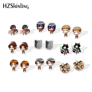 2019 New Attack on Titan Acrylic Earring Eren Levi Rivaille Epoxy Resin Earrings Anime Stud Earrings Jewelry(China)