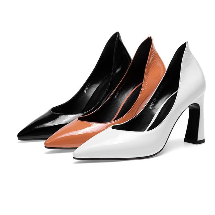 Tacones altos mujer primavera y otoño zapatos de tacón grueso mujer zapatos de cuero blanco zapatos de mujer PU8.5cm blanco tacones - 4