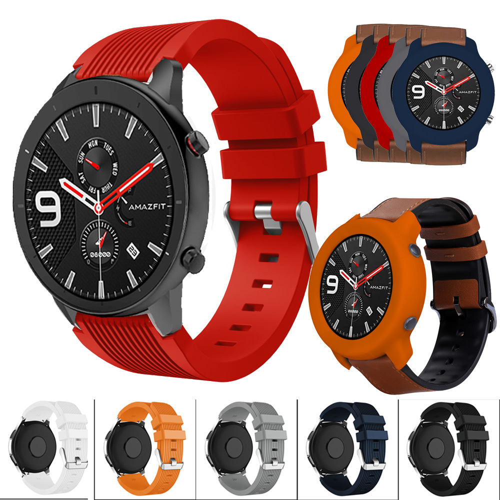For Xiaomi Huami Amazfit GTR 47mm Silicone Watch Band Strap Bracelet 22mm Watchband TPU Soft FShockproof Protective Case Cover