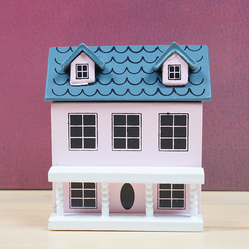 Mini House Model 1:12 Mini Dollhouse Furniture Accessories For Doll Play Dollhouse Green Light Pink Top Lovely Dollhouse