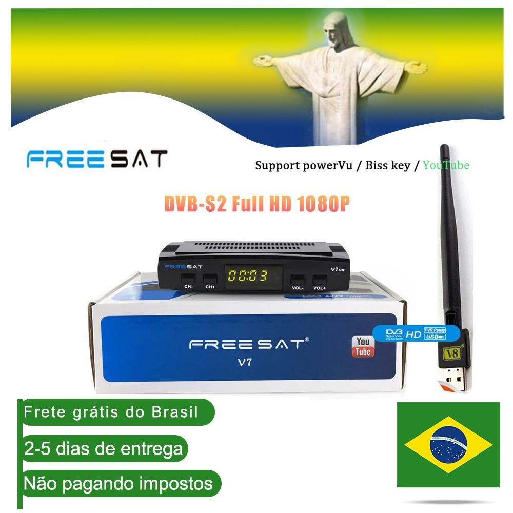 DVB-S2 V7 Freesat hd Receptor de TV Via Satélite Full HD + USB Wifi suporte Youtube CCcam Satélite Receptor navio a partir do Brasil decodificador
