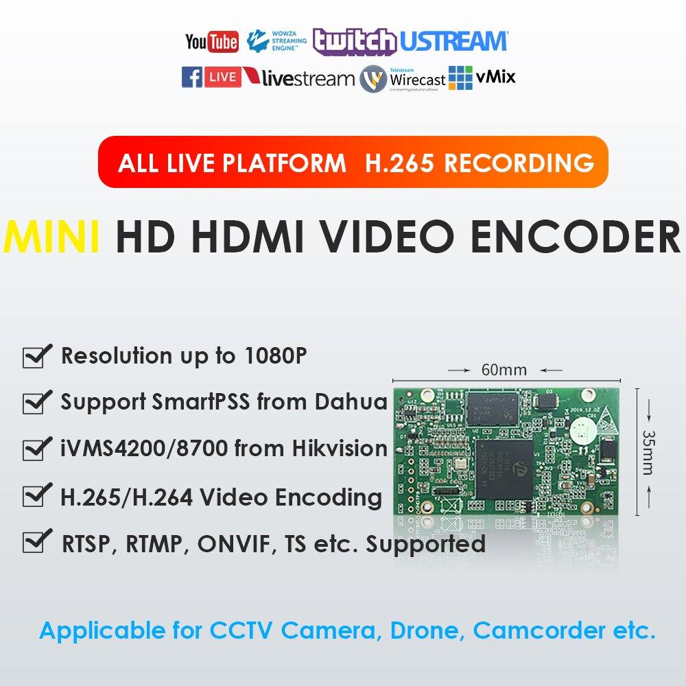 H.265 H.264 1080P 50fps мини HDMI видео кодировщик для камеры видеонаблюдения Видеокамера Drone медицинское оборудование TVBox для прямого вещания